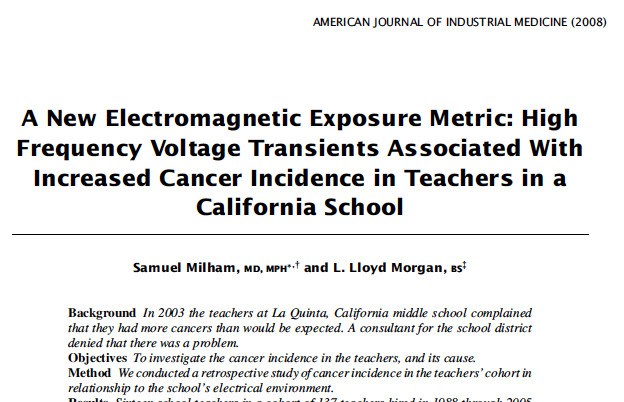 Cancer Cer Ociated With Dirty Electricity At California Middle School