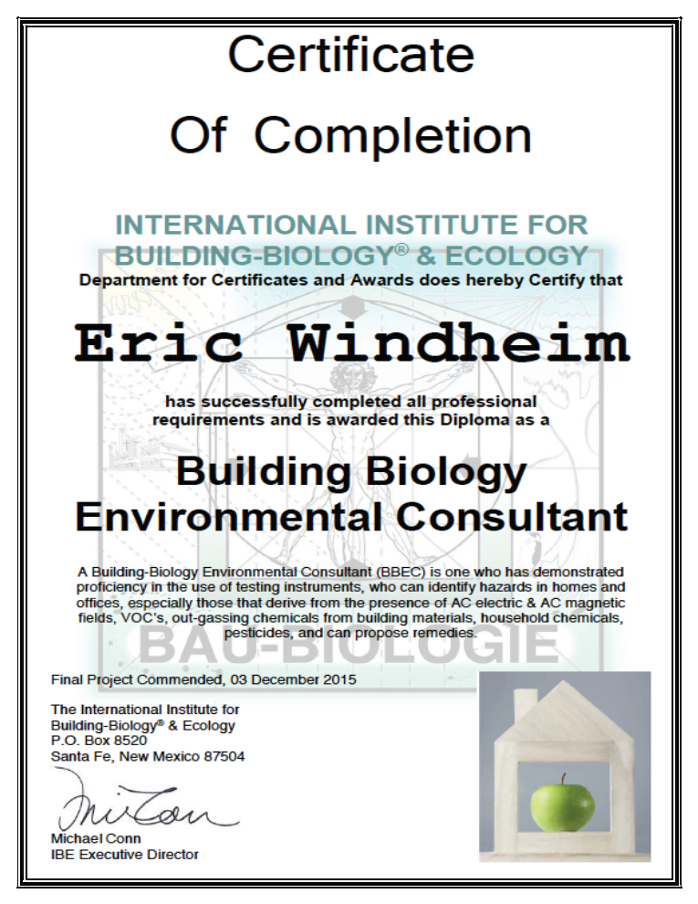 Eric Windheim Receives Building Biology Environmental Consultant
