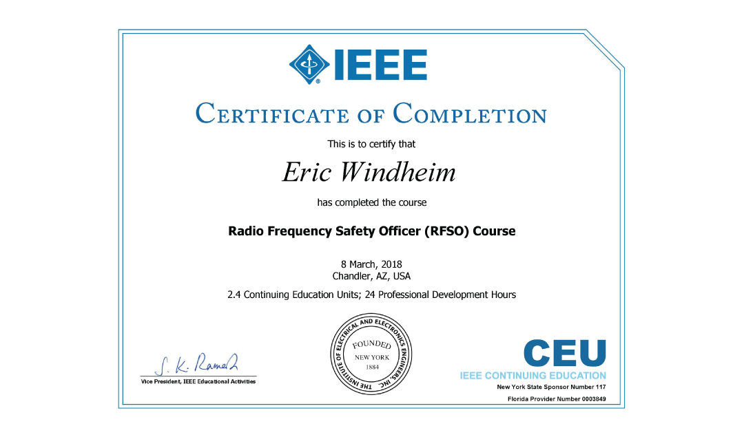 Radio Frequency Safety Officer (RFSO) Course Completion 2018 ...
